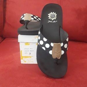 Yellow Box black & white polka dot flip flops
